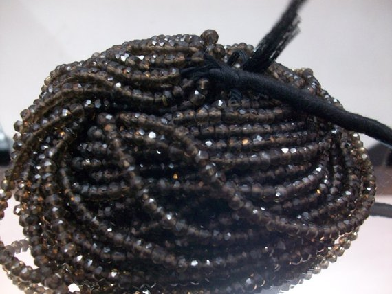 3.5mm Smoky Quartz Rondelle Beads Faceted - Micro Faceted Beads Rondelles - Smoky Faceted Rondelles - Smoky Quartz Beads Rondelles Faceted