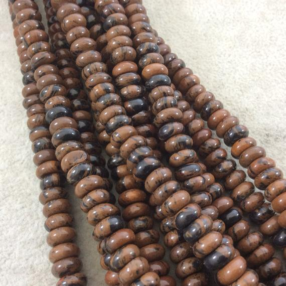 """5mm X 8mm Glossy Finish Natural Mahogany Obsidian Rondelle Shaped Beads With 2.5mm Holes - 8"""" Strand (approx. 39 Beads) - Large Hole Beads"""