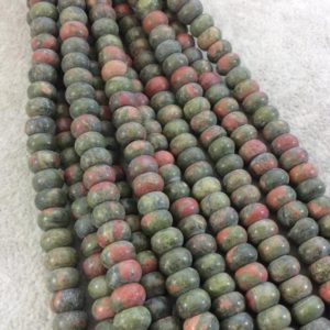 "Shop Unakite Beads! 5mm x 8mm Glossy Finish Natural Green/Pink Unakite Rondelle Shaped Beads with 2.5mm Holes – 8"" Strand (Approx. 39 Beads) – LARGE HOLE BEADS 