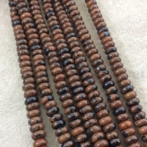 "5mm x 8mm Smooth Finish Natural Mahogany Obsidian Rondelle Shaped Beads with 1mm Holes – Sold by 15.5"" Strands (Approximately 80 Beads) 