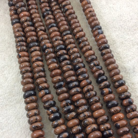 """5mm X 8mm Smooth Finish Natural Mahogany Obsidian Rondelle Shaped Beads With 1mm Holes - Sold By 15.5"""" Strands (approximately 80 Beads)"""