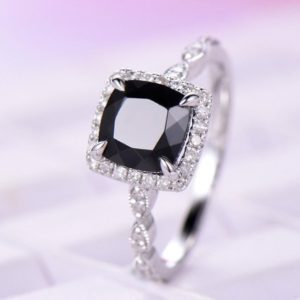 Shop Spinel Rings! 6.5mm Black-spinel Engagement ring/14k white gold diamond milgrain band/Halo Stack/Art deco bridal ring/Cushion cut/Retro Vintage Floral set | Natural genuine Spinel rings, simple unique alternative gemstone engagement rings. #rings #jewelry #bridal #wedding #jewelryaccessories #engagementrings #weddingideas #affiliate #ad