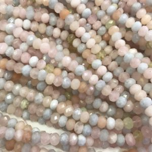 Shop Morganite Rondelle Beads! 6mm 8mm Morganite Faceted Rondelle Beads , 15.5 Inch Strand,Hole Approx 0.8mm | Natural genuine rondelle Morganite beads for beading and jewelry making.  #jewelry #beads #beadedjewelry #diyjewelry #jewelrymaking #beadstore #beading #affiliate #ad