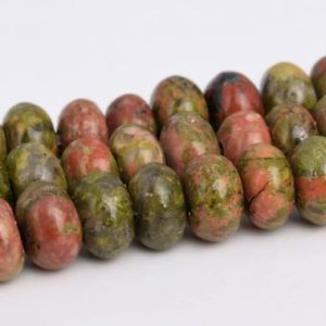"Shop Unakite Rondelle Beads! 6x4MM Lotus Pond Unakite Beads Grade AAA Genuine Natural Gemstone Full Strand Rondelle Loose Beads 15"" BULK LOT 1,3,5,10 and 50 (103233-741) 