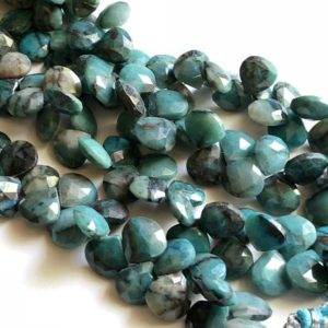 8 Inch Chrysocolla Heart Beads, 11-12mm Natural Chrysocolla Faceted Heart Beads, 40 Pcs Chrysocolla Necklace, Chrysocolla Beads – AAG5 | Natural genuine other-shape Gemstone beads for beading and jewelry making.  #jewelry #beads #beadedjewelry #diyjewelry #jewelrymaking #beadstore #beading #affiliate #ad