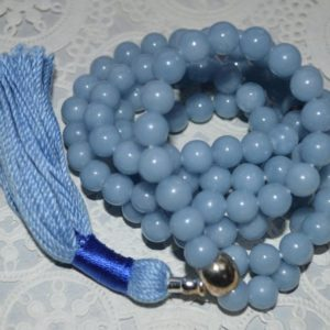 Shop Angelite Necklaces! Celestial Angelite Anhydrite mala beads necklace Anhydrite crystals raw Angelite stone necklace Angelite pendant jewelry Protection crystals | Natural genuine Angelite necklaces. Buy crystal jewelry, handmade handcrafted artisan jewelry for women.  Unique handmade gift ideas. #jewelry #beadednecklaces #beadedjewelry #gift #shopping #handmadejewelry #fashion #style #product #necklaces #affiliate #ad