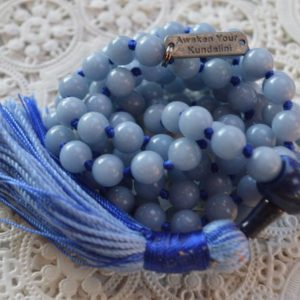 Celestial Anhydrite angelite crystal mala necklace jewelry raw Angelite knotted blue stone beads necklace healing crystal pendant protection | Natural genuine Gemstone necklaces. Buy crystal jewelry, handmade handcrafted artisan jewelry for women.  Unique handmade gift ideas. #jewelry #beadednecklaces #beadedjewelry #gift #shopping #handmadejewelry #fashion #style #product #necklaces #affiliate #ad