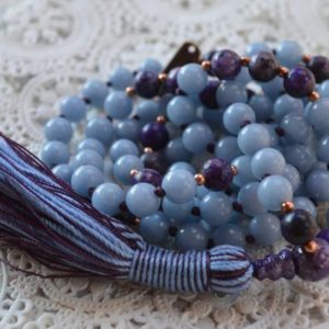 Shop Angelite Jewelry! 8 mm Genuine knotted Blue Angelite and Lepidolite Mala Beads Necklace  Angels Stone,Spiritual & Psychic growth,enhanced intuition,communicat | Natural genuine Angelite jewelry. Buy crystal jewelry, handmade handcrafted artisan jewelry for women.  Unique handmade gift ideas. #jewelry #beadedjewelry #beadedjewelry #gift #shopping #handmadejewelry #fashion #style #product #jewelry #affiliate #ad