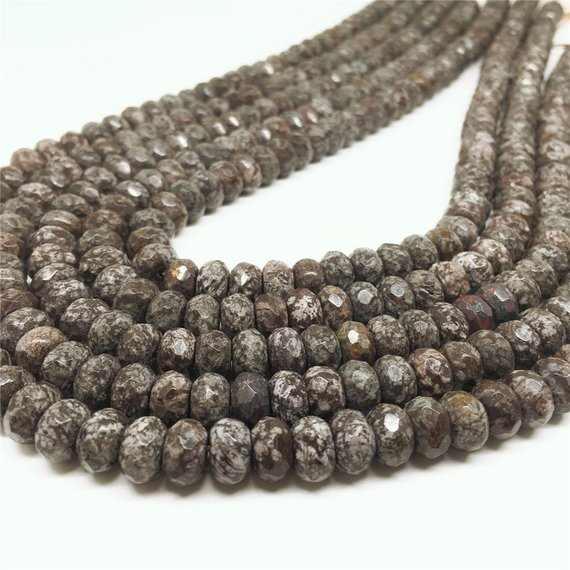 8x5mm Brown Snowflake Obsidian Beads, Faceted Rondelle Beads, Gemstone Beads, Wholesale Beads