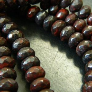 "8x5MM Faceted Natural Mahogany Obsidian Rondelle Beads – Faceted Gemstone Rondelle Beads – 15"" Strand Mahogany Obsidian Beads About 76 Beads 
