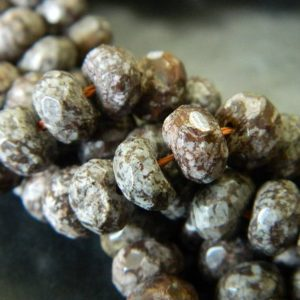"8x5MM Faceted Natural Snowflake Obsidian Rondelle Beads – Faceted Gemstone Rondelle Bead – 15"" Strand Snowflake Obsidian Bead About 76 Beads 
