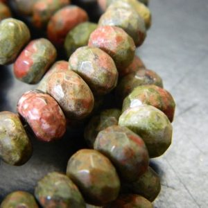"Shop Unakite Rondelle Beads! 8x5MM Faceted Natural Unakite Rondelle Beads – Faceted Gemstone Rondelle Beads – 15"" Strand Ruby in Unakite Beads, About 76 Beads 