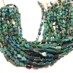"Shop Chrysocolla Chip & Nugget Beads! AAA Grade CHRYSOCOLLA Step Cut Nuggets, Step Cut Tumbled Nugget Briolettes, 8-12 mm,Half 8""/Full 16"" Strand,Loose Gemstone Tumble Beads 