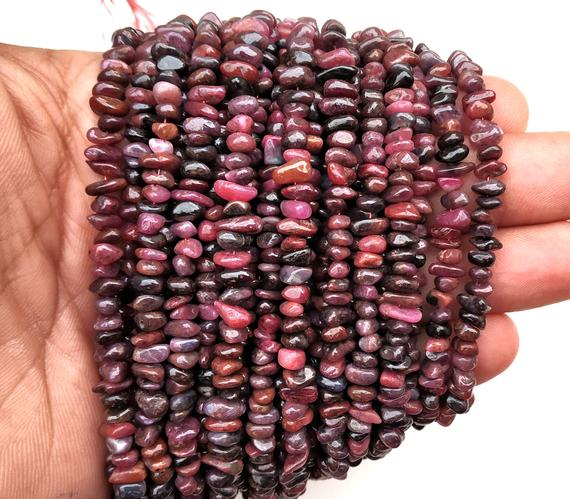 """Aaa Quality 16""""long Natural Ruby Chips Beads,uncut Chip Bead,4-6 Mm,polished Beads,smooth Ruby Chip Bead,gemstone Wholesale Price"""
