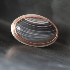 Shop Agate Rings! Striped Agate Silver Copper Ring Cosmic Saturn Gray Halo Loop Pattern Natural Large Gemstone Cabochon Celestial Statement Design – Phoebe | Natural genuine Agate rings, simple unique handcrafted gemstone rings. #rings #jewelry #shopping #gift #handmade #fashion #style #affiliate #ad