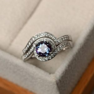Shop Alexandrite Rings! Alexandrite ring, engagement rings, 14k white gold ring, bridal sets, color change gemstone, June birthston | Natural genuine Alexandrite rings, simple unique alternative gemstone engagement rings. #rings #jewelry #bridal #wedding #jewelryaccessories #engagementrings #weddingideas #affiliate #ad