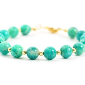 Shop Amazonite Bracelets! Amazonite Bracelet, Blue Gemstone Bracelet, Natural Russian Amazonite and Gold Filled, Gemstone Bracelet, Handmade Jewelry, Gemstone Jewelry | Natural genuine Amazonite bracelets. Buy crystal jewelry, handmade handcrafted artisan jewelry for women.  Unique handmade gift ideas. #jewelry #beadedbracelets #beadedjewelry #gift #shopping #handmadejewelry #fashion #style #product #bracelets #affiliate #ad