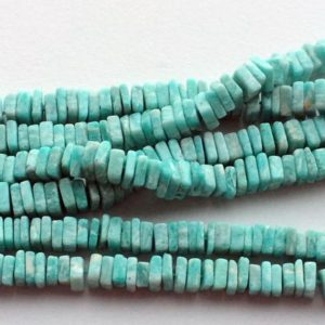 Shop Amazonite Bead Shapes! Amazonite Beads, Amazonite Square Heishi Beads, Amazonite Necklace, Sea Blue Amazonite Dish Heishi Beads, 6mm, 16 Inch Strand | Natural genuine other-shape Amazonite beads for beading and jewelry making.  #jewelry #beads #beadedjewelry #diyjewelry #jewelrymaking #beadstore #beading #affiliate #ad