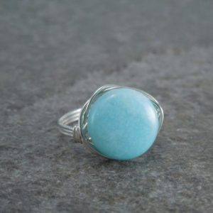 Shop Amazonite Rings! Peruvian Blue Amazonite Sterling Silver Wire Wrapped Bead Ring | Natural genuine Amazonite rings, simple unique handcrafted gemstone rings. #rings #jewelry #shopping #gift #handmade #fashion #style #affiliate #ad