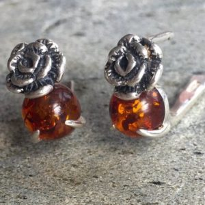 Shop Amber Earrings! Flower Earrings, Amber Earrings, Silver Flower Earrings, Natural Amber, Vintage Amber Earrings, Genuine Amber, Solid Silver, Healing Stones | Natural genuine Amber earrings. Buy crystal jewelry, handmade handcrafted artisan jewelry for women.  Unique handmade gift ideas. #jewelry #beadedearrings #beadedjewelry #gift #shopping #handmadejewelry #fashion #style #product #earrings #affiliate #ad