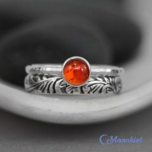 Amber Stacking Ring Set – Sterling Silver Amber Ring Set – Amber Engagement Ring Set – Amber Bridal Ring Set – Amber Wedding Ring Set | Natural genuine Gemstone rings, simple unique alternative gemstone engagement rings. #rings #jewelry #bridal #wedding #jewelryaccessories #engagementrings #weddingideas #affiliate #ad