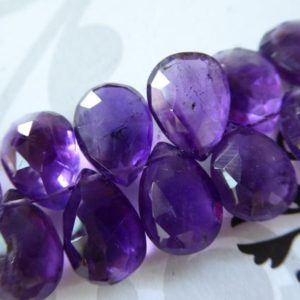 PURPLE AMETHYST Pear, AAA, 1-10 pcs, 13-14.5 mm Faceted Purple Amethyst Briolette Focal, February Birthstone Wholesale Gems tr 11a z solo | Natural genuine beads Gemstone beads for beading and jewelry making.  #jewelry #beads #beadedjewelry #diyjewelry #jewelrymaking #beadstore #beading #affiliate #ad