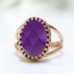 Shop Amethyst Rings! Rose gold ring,amethyst ring,double band ring,oval ring,gemstone ring,checkercut ring,faceted stone ring,pink gold ring with gemstone | Natural genuine Amethyst rings, simple unique handcrafted gemstone rings. #rings #jewelry #shopping #gift #handmade #fashion #style #affiliate #ad