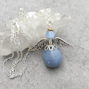 Shop Angelite Necklaces! Angelite Guardian Angel Communication Healing Energy Necklace / Friendship Necklace Meditation Jewelry / Throat Chakra | Natural genuine Angelite necklaces. Buy crystal jewelry, handmade handcrafted artisan jewelry for women.  Unique handmade gift ideas. #jewelry #beadednecklaces #beadedjewelry #gift #shopping #handmadejewelry #fashion #style #product #necklaces #affiliate #ad