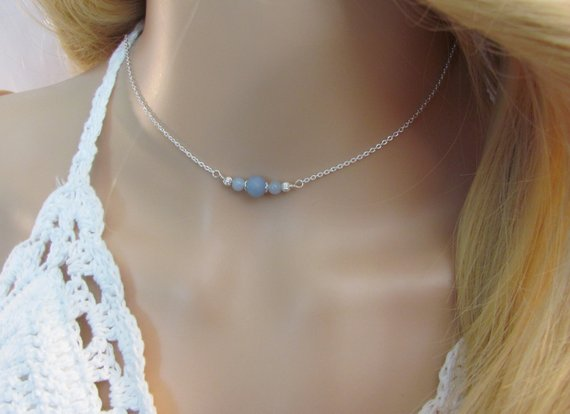 Angelite Choker Necklace, Natural Angelite Jewelry, Delicate Layering Necklace In Sterling Silver And Rose Gold