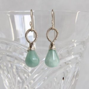 Aqua Blue Calcite Dangle Drop Earrings, Sterling silver Wire Wrapped, Handmade Gemstone Beaded Jewelry, Natural Mineral Minimalist Elegant | Natural genuine Calcite earrings. Buy crystal jewelry, handmade handcrafted artisan jewelry for women.  Unique handmade gift ideas. #jewelry #beadedearrings #beadedjewelry #gift #shopping #handmadejewelry #fashion #style #product #earrings #affiliate #ad