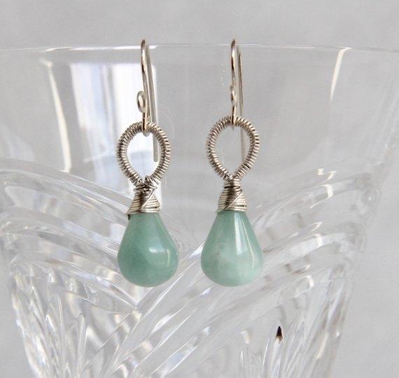 Aqua Blue Calcite Dangle Drop Earrings, Sterling Silver Wire Wrapped, Handmade Gemstone Beaded Jewelry, Natural Mineral Minimalist Elegant