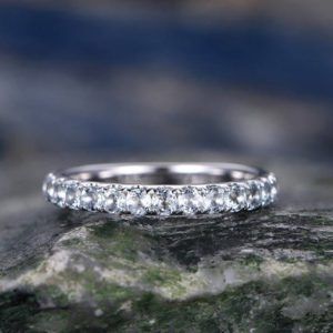 Natural Aquamarine engagement ring-Solid 14k white gold wedding band-half eternity stacking matching band-Round gemstone promise ring | Natural genuine Gemstone rings, simple unique alternative gemstone engagement rings. #rings #jewelry #bridal #wedding #jewelryaccessories #engagementrings #weddingideas #affiliate #ad