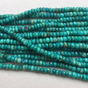 "Shop Chrysocolla Rondelle Beads! Bead Chrysocolla rondelle faceted 4 to 5mm 16"" each 