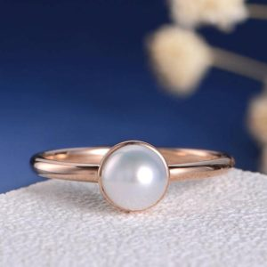 Bezel Set Engagement Ring Pearl Rose Gold Wedding Ring Solitaire Akoya minimalist Ring Women Engraving Anniversary Promise Graduation Gift | Natural genuine Gemstone rings, simple unique alternative gemstone engagement rings. #rings #jewelry #bridal #wedding #jewelryaccessories #engagementrings #weddingideas #affiliate #ad