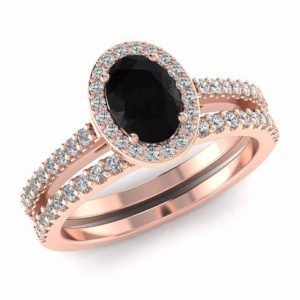 Black Diamond Engagement Ring Set, Black Engagement Rings Oval Cut Natural Black Diamond and White Diamond Wedding Set 14K Rose Gold | Natural genuine Array rings, simple unique alternative gemstone engagement rings. #rings #jewelry #bridal #wedding #jewelryaccessories #engagementrings #weddingideas #affiliate #ad