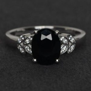 Shop Spinel Rings! black spinel ring oval cut black ring natural gemstone rings silver | Natural genuine Spinel rings, simple unique handcrafted gemstone rings. #rings #jewelry #shopping #gift #handmade #fashion #style #affiliate #ad