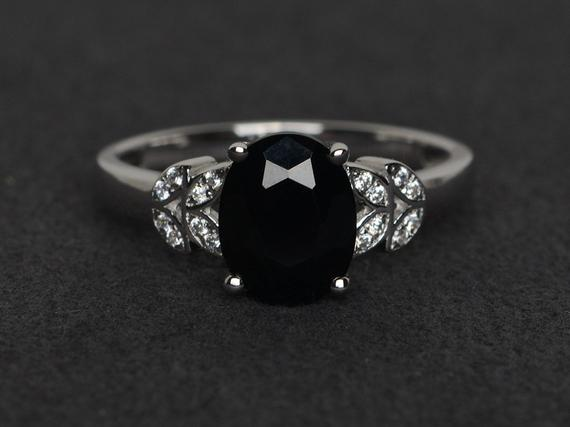 Black Spinel Ring Oval Cut Black Ring Natural Gemstone Rings Silver