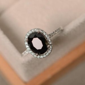 Black spinel ring, oval cut engagement ring, natural spinel ring, black gemstone ring | Natural genuine Spinel jewelry. Buy handcrafted artisan wedding jewelry.  Unique handmade bridal jewelry gift ideas. #jewelry #beadedjewelry #gift #crystaljewelry #shopping #handmadejewelry #wedding #bridal #jewelry #affiliate #ad