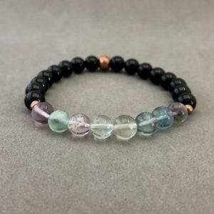 Black Tourmaline and Rainbow Fluorite Stretch Bead Bracelet with Copper Accents | Natural genuine Array bracelets. Buy crystal jewelry, handmade handcrafted artisan jewelry for women.  Unique handmade gift ideas. #jewelry #beadedbracelets #beadedjewelry #gift #shopping #handmadejewelry #fashion #style #product #bracelets #affiliate #ad