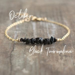Shop Black Tourmaline Jewelry! Raw Black Tourmaline Bracelet, Healing Crystals Bracelet, Empath Protection Bracelet, October Birthstone Jewelry Gifts for Women | Natural genuine Black Tourmaline jewelry. Buy crystal jewelry, handmade handcrafted artisan jewelry for women.  Unique handmade gift ideas. #jewelry #beadedjewelry #beadedjewelry #gift #shopping #handmadejewelry #fashion #style #product #jewelry #affiliate #ad