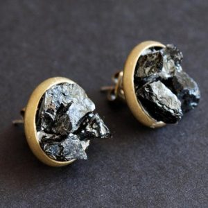 Black Tourmaline Cluster Stud Earrings, Raw Black Tourmaline Earrings | Natural genuine Gemstone earrings. Buy crystal jewelry, handmade handcrafted artisan jewelry for women.  Unique handmade gift ideas. #jewelry #beadedearrings #beadedjewelry #gift #shopping #handmadejewelry #fashion #style #product #earrings #affiliate #ad