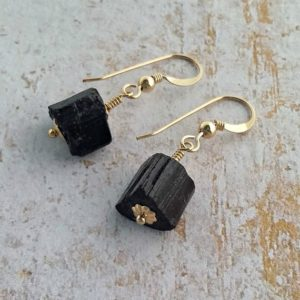 Black tourmaline earrings 14K gold filled empath jewelry gift  Healing raw crystal drop earring Spiritual EMF Protection jewelry for women | Natural genuine Gemstone earrings. Buy crystal jewelry, handmade handcrafted artisan jewelry for women.  Unique handmade gift ideas. #jewelry #beadedearrings #beadedjewelry #gift #shopping #handmadejewelry #fashion #style #product #earrings #affiliate #ad