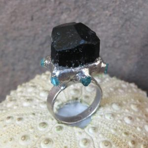 Shop Black Tourmaline Rings! Raw Black Tourmaline Crystal Silver Plated Electroformed Ring | Natural genuine Black Tourmaline rings, simple unique handcrafted gemstone rings. #rings #jewelry #shopping #gift #handmade #fashion #style #affiliate #ad