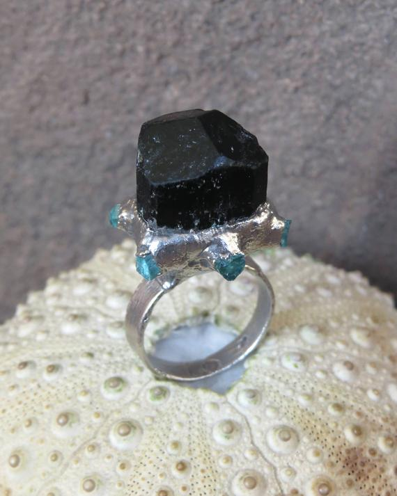 Black Tourmaline Crystal Silver Plated Electroformed Ring
