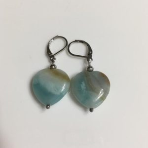 Shop Heart Shaped Earrings! Blue Heart Amazonite Gemstone Stainless Steel Dangle Silver Earrings,  Woman Jewelry, Blue Heart Earring, Stone, Blue Brown | Natural genuine Gemstone earrings. Buy crystal jewelry, handmade handcrafted artisan jewelry for women.  Unique handmade gift ideas. #jewelry #beadedearrings #beadedjewelry #gift #shopping #handmadejewelry #fashion #style #product #earrings #affiliate #ad
