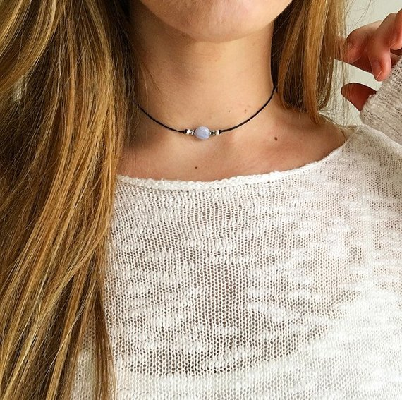Blue Lace Agate Beaded Choker 'alex', Choker With Gemstone, Crystal Choker Necklace, Blue Gemstone Necklace, Silver Choker: Serenity Project