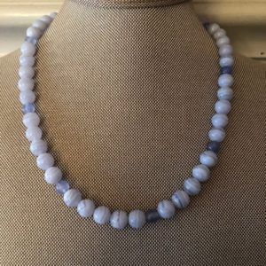 Shop Blue Lace Agate Necklaces! Blue Lace Agate Beaded Necklace | Natural genuine Blue Lace Agate necklaces. Buy crystal jewelry, handmade handcrafted artisan jewelry for women.  Unique handmade gift ideas. #jewelry #beadednecklaces #beadedjewelry #gift #shopping #handmadejewelry #fashion #style #product #necklaces #affiliate #ad