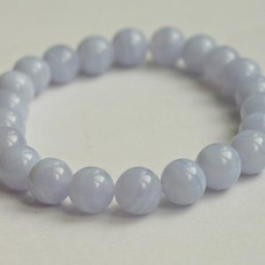 Blue Lace Agate Bracelet, Emotional Healing Stretch Bracelet, Tranquility Bracelet, Throat Chakra Bracelet, Blue Lace Agate Jewelry | Natural genuine Gemstone bracelets. Buy crystal jewelry, handmade handcrafted artisan jewelry for women.  Unique handmade gift ideas. #jewelry #beadedbracelets #beadedjewelry #gift #shopping #handmadejewelry #fashion #style #product #bracelets #affiliate #ad