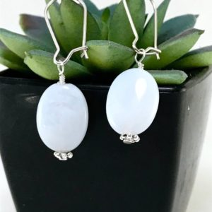 Shop Blue Lace Agate Earrings! Blue Lace Agate Earrings | Natural genuine Blue Lace Agate earrings. Buy crystal jewelry, handmade handcrafted artisan jewelry for women.  Unique handmade gift ideas. #jewelry #beadedearrings #beadedjewelry #gift #shopping #handmadejewelry #fashion #style #product #earrings #affiliate #ad