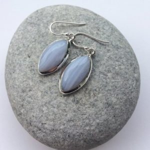 Shop Blue Lace Agate Earrings! Blue lace agate earrings, Marquise shape long blue earrings, Sterling silver drop earrings, Light blue gem, Blue lace agate Jewelry, for her | Natural genuine Blue Lace Agate earrings. Buy crystal jewelry, handmade handcrafted artisan jewelry for women.  Unique handmade gift ideas. #jewelry #beadedearrings #beadedjewelry #gift #shopping #handmadejewelry #fashion #style #product #earrings #affiliate #ad